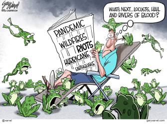 Editorial Cartoon U.S. 2020 covid riots wildfires hurricanes