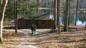 Retiring to the cabin.