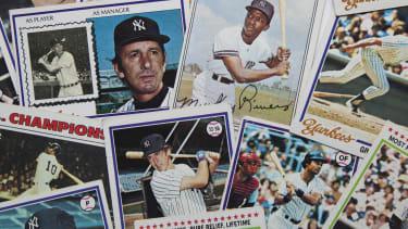 Baseball cards.