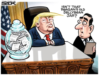 Political cartoon U.S. Trump Ronald Reagan Russian collusion pardons