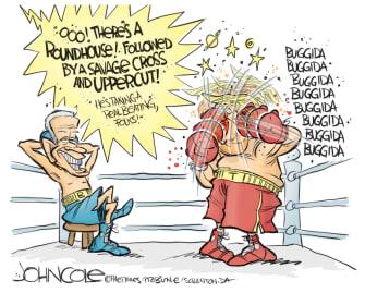 Political Cartoon U.S. Trump Biden 2020 boxing