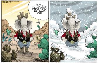 Political Cartoon U.S. texas gop winter weather