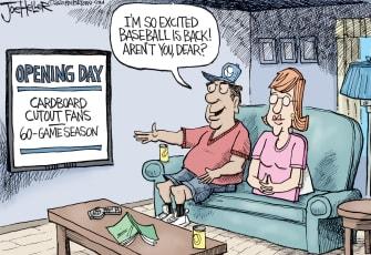 Editorial Cartoon U.S. MLB baseball cutout fans