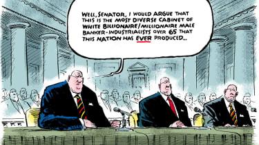 Political cartoon U.S. Donald Trump cabinet Senate confirmation