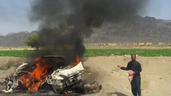 The site of a drone strike Afghan officials say killed the Taliban leader