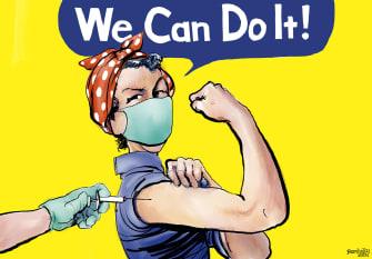 Editorial Cartoon U.S. we can do it covid vaccine