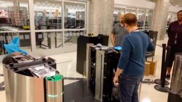 The TSA tests its new fingerprinting ID system.