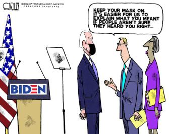 Political Cartoon U.S. Biden mask