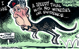 Political Cartoon U.S. Mitch McConnell Russia dinosaur impeachment trial senate