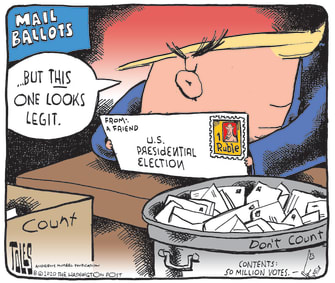 Political Cartoon U.S. Trump 2020 Election Russian Interference Mail-in Voting Absentee Ballots