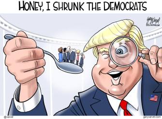 Political Cartoon U.S. Trump Democrats Honey I Shrunk The Kids 2020 primaries candidates movies