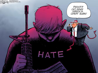 Political Cartoon U.S. Trump Mass Shootings Hate Whisperer MAGA