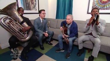 Stephen Colbert and Paul Simon duet