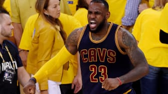 Cleveland wins Game 2 of the NBA finals, and LeBron James celebrates.