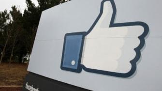 "A ""like"" symbol outside the Facebook headquarters in California"