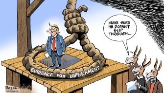 Political Cartoon U.S. Democrats Trump Impeachment Loose Noose