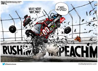 Political Cartoon U.S. Trump Senate impeachment speedy trial car crash racing