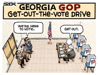 Political Cartoon U.S. georgiavoting law