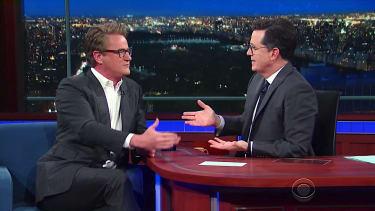 Joe Scarborough and Stephen Colbert discuss Donald Trump