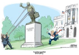 Political Cartoon U.S. Trump Putin Russia bounty