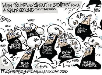 Editorial Cartoon U.S. Trump looters shooters big business greed