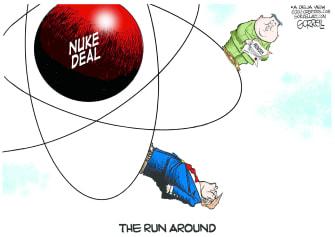 Political Cartoon U.S. Trump North Korea Nuclear Deal Run Around