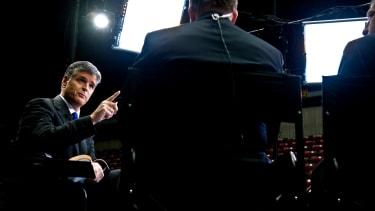 Sean Hannity on set at Fox News.