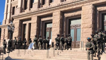 Texas state troopers outside capitol in Austin.