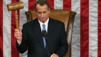Speaker of the House John Boehner (R-Ohio) holds the gavel during the first session of the 113th Congress on Jan. 3