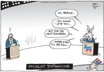 Political Cartoon U.S. Bernie Sanders Democrats 2020 presidential primaries social distancing debates