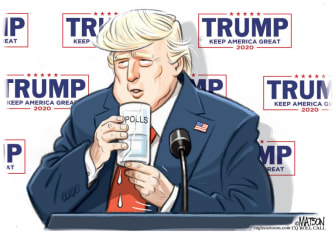Political Cartoon U.S. Trump poll numbers water drink