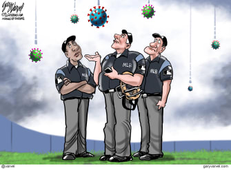 Editorial Cartoon U.S. MLB coronavirus Norman Rockwell