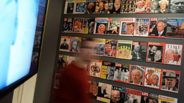 Magazines on display in Moscow.