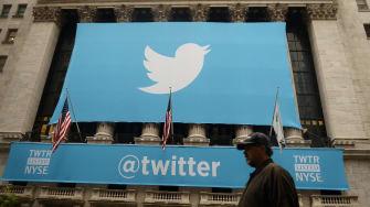 The Twitter logo on Wall Street