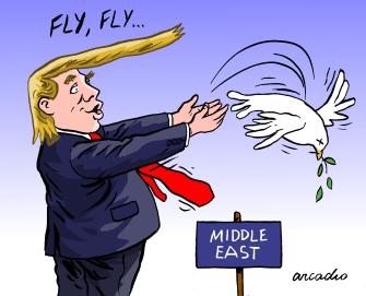 Political Cartoon U.S. Trump Middle East dying dove