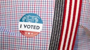 "An ""I Voted"" sticker on an Arizona voter."