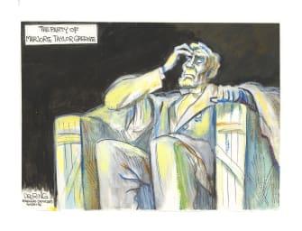 Political Cartoon U.S. party of lincoln greene gop