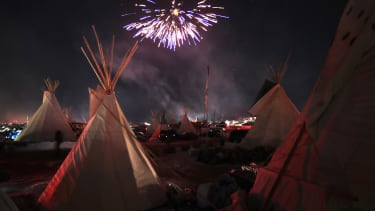 Activists celebrate at the Standing Rock Sioux Reservation
