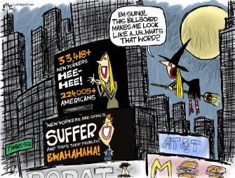 Political Cartoon U.S. Ivanka Trump lawsuit Times Square COVID