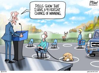 Political Cartoon U.S. Biden polls