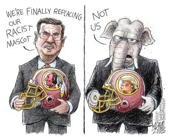 Political Cartoon U.S. Trump Redskins name change GOP