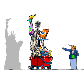 Political Cartoon U.S. Trump coronavirus presents pandemic plan cleaning supplies statue of liberty