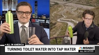 Chris Hayes drinks toilet water