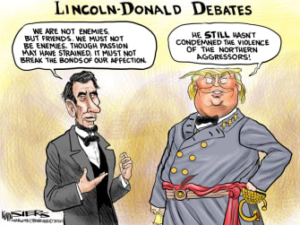 Political Cartoon U.S. Trump Lincoln
