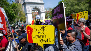 A May Day rally in Union Square on Monday.