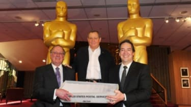 PricewaterhouseCoopers partners and Academy president Tom Sherak (center) attend the final Oscar ballot mailing on Feb. 1: A new study shows that 94 percent of Oscar voters are white.