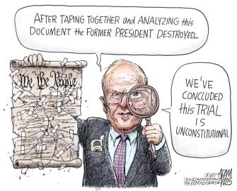 Political Cartoon U.S. trump impeachment constitution