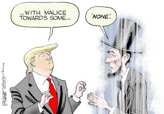 Political Cartoon U.S. Trump Lincoln malice towards none