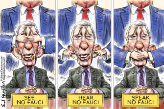 Political Cartoon U.S. Trump Fauci coronavirus