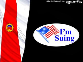 Political Cartoon U.S. Trump I voted sticker